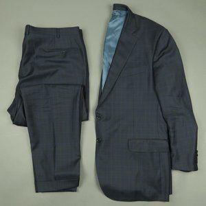 Trussini Super 110s Blue Plaid Wool Suit